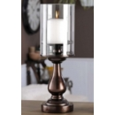 Bronze Glass Candle Holder Lrg