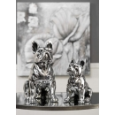 Antique Silver Ceramic Dog Set